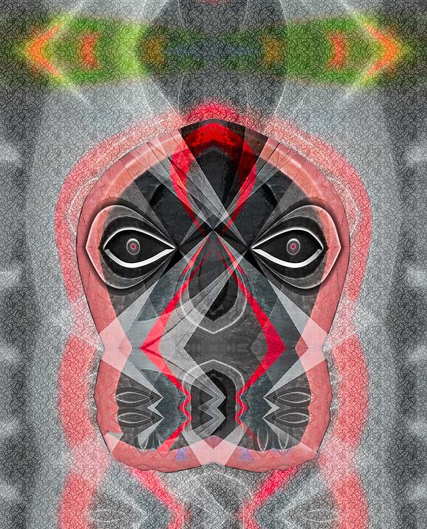 """Salish Sea Denizen Mask"", derivative image created from a photo of the John Wayne Marina parking lot, overcast light, December, Clallam County, Olympic Peninsula, Sequim, Washington, USA"