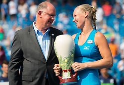 August 19, 2018 - Kiki Bertens of the Netherlands with the winners trophy of the 2018 Western & Southern Open WTA Premier 5 tennis tournament. Cincinnati, Ohio, USA. August 19th 2018. (Credit Image: © AFP7 via ZUMA Wire)