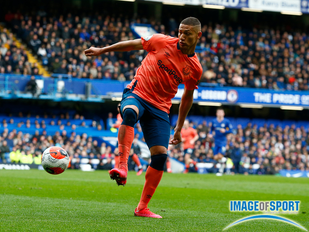 Everton's Richarlison in action during an English Premier League soccer match between Chelsea and Everton at Stamford Bridge stadium, Sunday, March 8, 2020, in London, United Kingdom. Chelsea defeated Everton 4-0. (Mitchell Gunn-ESPA Images/Image of Sport via AP)