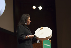 "May 2, 2017 - Seattle, Washington, United States - Seattle, Washington: Ceremonial Leader and environmental activist Chenoa Egawa gives a traditional invocation at The Congress for the New Urbanism's ""Combating the Suburbanization of Poverty"" at Benaroya Hall. At the 25th annual Congress, CNU 25.Seattle attendees participate in workshops, collaborate on projects, and learn new strategies from leaders in design, development, engineering, health, equity climate, and more. Previously held in Detroit, Dallas, and Buffalo, each Congress offers attendees the chance to experience and connect with a different host region. (Credit Image: © Paul Gordon via ZUMA Wire)"