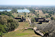 View of the ancient Khmer religious complex of Wat Phu from the slopes of Phu Pasak, Champasak province, Lao PDR.