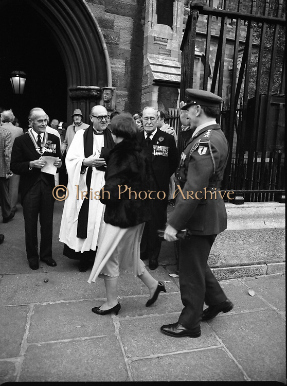 Remembrance Day Service.1983.13.11.1983.11.13.1983.13th November 1983..A remembrance service was held in St Patrick's Cathederal, Dublin,(Poppy Day) to commerate the Irish Fallen who died  whilst on service with the British Army in the two World Wars..High ranking members of the Irish Army and their wives attended the service