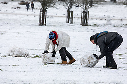 © Licensed to London News Pictures. 24/01/2021. London, UK. A family builds a snowman in Richmond Park South West London today as heavy snowfalls hit the South East with temperatures dropping to -4c. A chilly day ahead is forecast for London with the Met Office issuing a yellow weather warning for snow and ice with disruption to travel as the cold weather continues. Photo credit: Alex Lentati/LNP