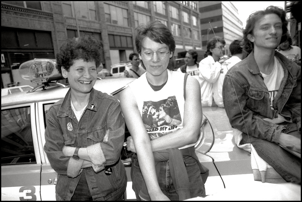 Illith Rosenblum, Polly Thistlethwaite and Rand Snyder of ACT UP NY waiting for arrestees to be released after Target City Hall action in NYC on March 28, 1989.