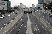 Israel, Tel Aviv, Menachem Begin Road, near Azrieli towers