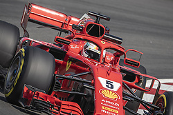 May 11, 2018 - Barcelona, Catalonia, Spain - SEBASTIAN VETTEL (GER) drives during the first practice session of the Spanish GP at Circuit de Catalunya in his Ferrari SF-71H (Credit Image: © Matthias Oesterle via ZUMA Wire)