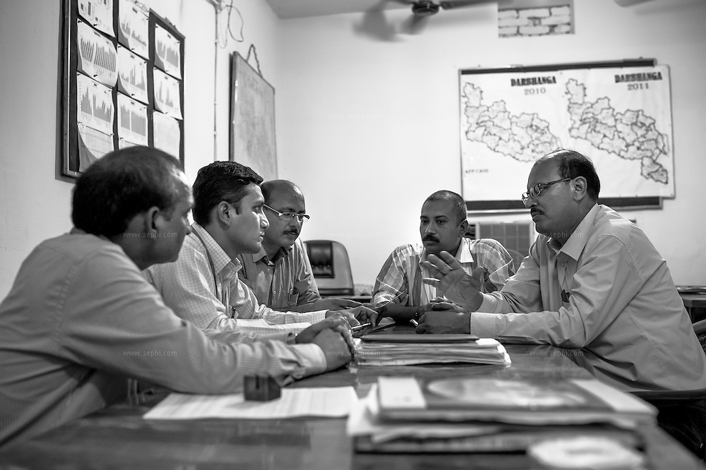 Partners meeting. Unicef and WHO's sureveilance medical officers (SMO), SMC and SRCs meet at WHO office, Darbhanga, Bihar.