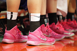 10 February 2013:  Pink sneakers are worn for Play for Kay during an NCAA women's basketball game where the Creighton Bluejays lost to the Illinois Sate Redbirds 66-60 at Redbird Arena in Normal IL