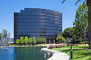 Commercial Office Building Surrounded by Lake Hutton at Hutton Center in Santa Ana