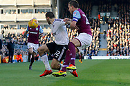 Fulham forward Aleksandar Mitrovic (32) is awarded a freekick as he is taken down by Aston Villa defender John Terry (26) during the EFL Sky Bet Championship match between Fulham and Aston Villa at Craven Cottage, London, England on 17 February 2018. Picture by Andy Walter.
