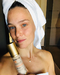"""Bar Refaeli releases a photo on Instagram with the following caption: """"Absolutely in love with the new glowing fluid #CVIT Radiance from @sesderma. My skin is hydrated and full of vitality. HUGE FAN!"""". Photo Credit: Instagram *** No USA Distribution *** For Editorial Use Only *** Not to be Published in Books or Photo Books ***  Please note: Fees charged by the agency are for the agency's services only, and do not, nor are they intended to, convey to the user any ownership of Copyright or License in the material. The agency does not claim any ownership including but not limited to Copyright or License in the attached material. By publishing this material you expressly agree to indemnify and to hold the agency and its directors, shareholders and employees harmless from any loss, claims, damages, demands, expenses (including legal fees), or any causes of action or allegation against the agency arising out of or connected in any way with publication of the material."""