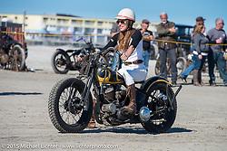 Brittney Olsen on a borrowed bike at the Race of Gentlemen. Wildwood, NJ, USA. October 11, 2015.  Photography ©2015 Michael Lichter.