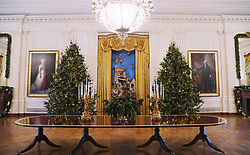 Christmas trees and holiday decorations are seen in the East Room of the White House in Washington, DC, November 27, 2017. . Photo by Olivier Douliery/Abaca Press
