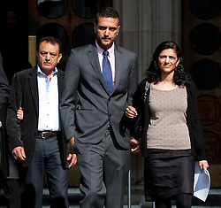 © Licensed to London News Pictures. 30/03/2012. London, UK.  Family of Anni Dewani L to R Vinod Hindocha (Father) Anish Hindocha (Brother) and Ami Denborg (Sister) leaving The High Court on March 30, 2012 where a judge temporarily halted British businessman Shrien Dewani's extradition to South Africa on mental health grounds. Shrien Dewani, is accused of arranging the contract killing of wife Anni in Cape Town in November 2010. Photo credit : Ben Cawthra/LNP