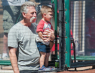 A young Angel fans gets about as close as you can get to the the field during their preseason game against the Chicago Cubs at Angel Stadium Sunday.<br /> <br /> <br /> ///ADDITIONAL INFO:   <br /> <br /> angels.0404.kjs  ---  Photo by KEVIN SULLIVAN / Orange County Register  --  4/3/16<br /> <br /> The Los Angeles Angels take on the Chicago Cubs at Angel Stadium during a preseason game at Angel Stadium Sunday.<br /> <br /> <br />  4/3/16