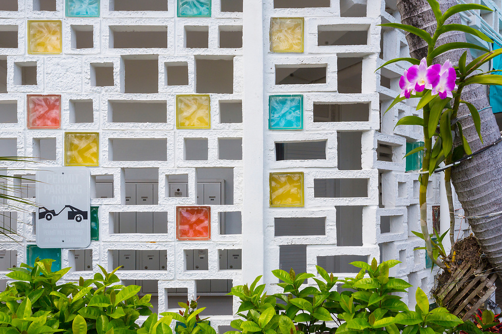 Masonry and glass block screen at The Bay Harbor Continental apartments designed by Charles McKirahan in 1958.