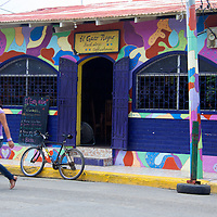 Central America, Nicaragua, San Juan del Sur. Gato Negro Book store and coffee shop in San Juan del Sur.