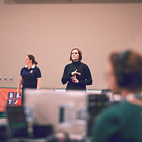 Head Coach, Melanie Sanford of the Regina Cougars during the Women's Volleyball home game on Sat Jan 26 at Centre for Kinesiology, Health & Sport. Credit: Arthur Ward/Arthur Images