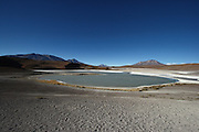 This is Laguna Honda, one of many lakes one passes driving south from the edge of the Salar de Uyuni in the Bolivian Altiplano