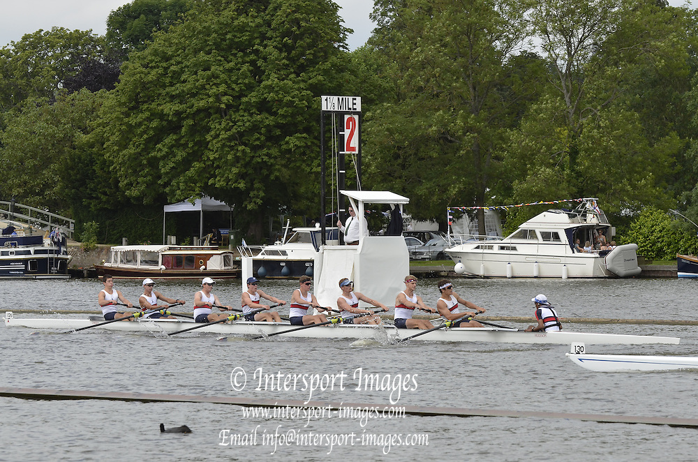 Henley, GREAT BRITAIN,  Princess Elizabeth Challenge Cup. Belmont Hill school USA leading Canford School during at the 1.1/8 mile post during  their Thursday race. 2012 Henley Royal Regatta. 2012 Henley Royal Regatta. ..Thursday  11:06:08  28/06/2012. [Mandatory Credit, Peter Spurrier/Intersport-images]...Rowing Courses, Henley Reach, Henley, ENGLAND . HRR.