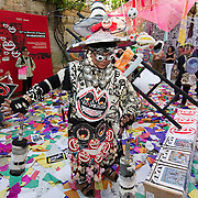 """VENICE, ITALY - JUNE 02:  Frog King Kwok China's first performance artist with the installation """"Frogtopia-Hongkornucopia"""" at the opening of Hong Kong Pavillion on June 2, 2011 in Venice, Italy. This year's Biennale is the 54th edition and will run from June 4th until 27 November."""