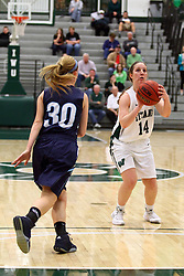 20 February 2016:  Shelby Gray during an NCAA women's basketball game between the Elmhurst Bluejays and the Illinois Wesleyan Titans in Shirk Center, Bloomington IL