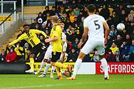 Burton Albion forward Devante Cole (44) shoots at goal during the EFL Sky Bet League 1 match between Burton Albion and Peterborough United at the Pirelli Stadium, Burton upon Trent, England on 27 October 2018.