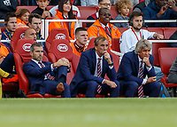 Football - 2018 / 2019 Premier League - Arsenal vs. West Ham United<br /> <br /> Manuel Pellegrini, manager of West Ham United,  and his assistants look on as they fail to inspire their team on at The Emirates.<br /> <br /> COLORSPORT/DANIEL BEARHAM