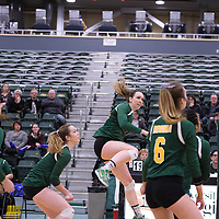 5th year outside hitter Jenna Krahn (15) of the Regina Cougars in action during Women's Volleyball home game on January 21 at Centre for Kinesiology, Health and Sport. Credit: Arthur Ward/Arthur Images