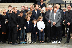 Family members leaving the funeral service for late photographer Peter Lindbergh held at Saint Sulpice church in Paris, France on September 24, 2019. Photo by ABACAPRESS.COM