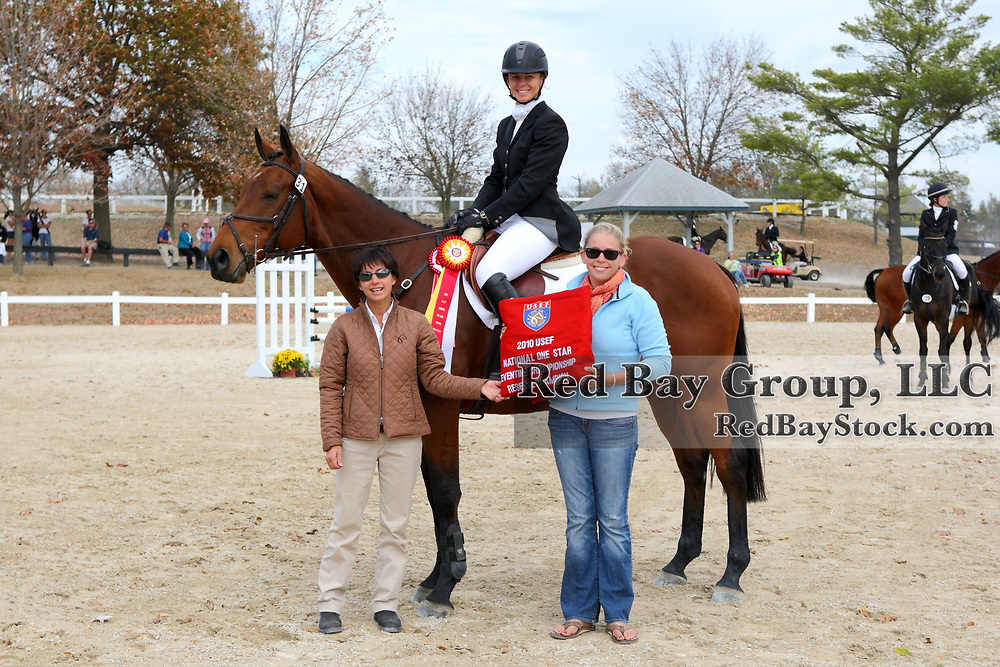 USEF National One Star Eventing Reserve Champion Ashley Leith and Monte Carlo with presenters Shealagh Costello and Helen Murray at the 2010 Midsouth 3 Day Event and Team Challenge Horse Trials