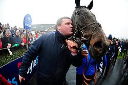 Trainer Gordon Elliott kisses winning horse General Principle, after winning the Boylesports Irish Grand National Chase, during BoyleSports Irish Grand National Day of the 2018 Easter Festival at Fairyhouse Racecourse, Ratoath, Co. Meath