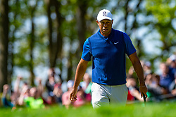 May 16, 2019 - Farmingdale, NY, U.S. - FARMINGDALE, NY - MAY 16: Tiger Woods of the United States on the 12th green during Round One of the PGA Championship Tournament on May 16, 2019, at Bethpage State Park in Farmingdale, NY (Photo by John Jones/Icon Sportswire) (Credit Image: © John Jones/Icon SMI via ZUMA Press)