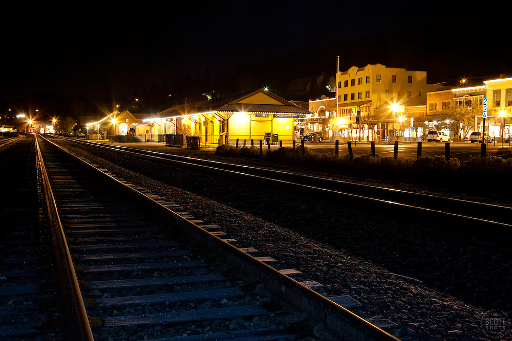 """""""Downtown Truckee Tracks 2""""- These railroad tracks were photographed in Downtown Truckee, in the early morning."""