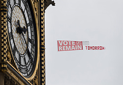 © Licensed to London News Pictures. 22/06/2016. London, UK. A light aircraft tows a Vote Remain banner past Westminster on the last day of campaigning in the EU referendum. Photo credit: Peter Macdiarmid/LNP