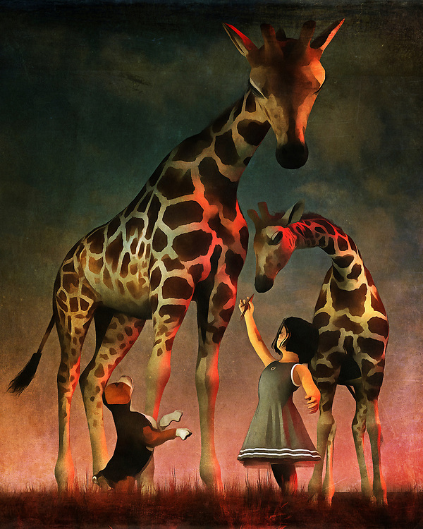 There is a sense of adventure to this piece that captivates the viewer from the very beginning. Here, we find Amy and Buddy the beagle on an adventure. We don't actually know where they are, but it's clear that this adventure has taken a turn for the extraordinary. Amy and Buddy have found some giraffes. From the first glance, it looks as though everyone is on their way to becoming fast friends. The sheer size difference between Amy and Buddy and the giraffes can be overwhelming. Yet from the detail in this gorgeous painting, available as wall art, t-shirts, or as interior products, we can see these giraffes are truly gentle, beautiful giants. .<br /> <br /> BUY THIS PRINT AT<br /> <br /> FINE ART AMERICA<br /> ENGLISH<br /> https://janke.pixels.com/featured/amy-and-buddy-with-the-giraffes-jan-keteleer.html<br /> <br /> WADM / OH MY PRINTS<br /> DUTCH / FRENCH / GERMAN<br /> https://www.werkaandemuur.nl/nl/shopwerk/Kinderen-Kunst-Amy-en-Buddy-met-de-giraffen/438459/134