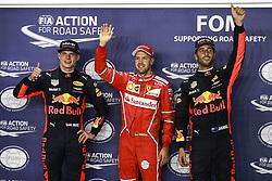 September 16, 2017 - Singapore, Singapore - Motorsports: FIA Formula One World Championship 2017, Grand Prix of Singapore, ..#33 Max Verstappen (NLD, Red Bull Racing), #5 Sebastian Vettel (GER, Scuderia Ferrari), #3 Daniel Ricciardo (AUS, Red Bull Racing) (Credit Image: © Hoch Zwei via ZUMA Wire)