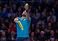 Tennis - 2019 Nitto ATP Finals at The O2 - Day One<br /> <br /> Singles Group Bjorn Borg: Novak Djokovic vs. Matteo Berrettini<br /> <br /> Matteo Berrettini (Italy) serves <br /> <br /> COLORSPORT/DANIEL BEARHAM