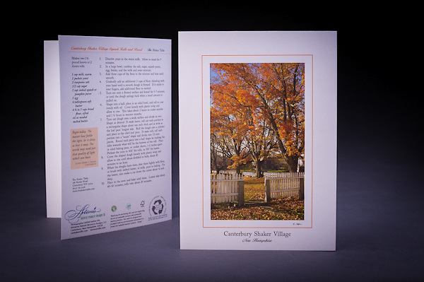 The majestic sugar maples and the white picket fence at the entrance to the Meetinghouse at Canterbury Shaker Village.  The card features the famous Canterbury Shaker Village Squash Rolls recipe.  Also available as a Limited Edition Fine Art Print. <br /> <br /> Artemis Photo Greeting Cards featuring NH native flora and fauna and historic sites. The cards are made exclusively in NH made from 100% FSC recycled paper, manufactured with wind and water power, and are archival acid free paper. Each card includes details on the back about the image, including interesting anecdotes, historic facts, conservation status, and recipes.