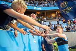 August 1, 2018 - MalmÃ, Sverige - 180801 Anders Christiansen of Malmö FF celebrates with fans after the UEFA Champions League qualifying match between Malmö FF and Cluj on August 1, 2018 in Malmö..Photo: Ludvig Thunman / BILDBYRÃ…N / kod LT / 35511 (Credit Image: © Ludvig Thunman/Bildbyran via ZUMA Press)