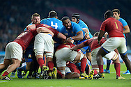 Samuela Vunisa of Italy screams while in the maul. Rugby World Cup 2015 pool D match, France v Italy at Twickenham Stadium in London on Saturday 19th September 2015.<br /> pic by John Patrick Fletcher, Andrew Orchard sports photography.