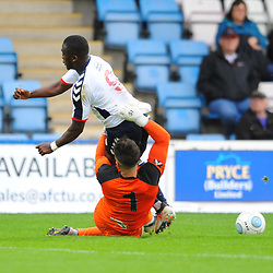 TELFORD COPYRIGHT MIKE SHERIDAN 13/10/2018 - Daniel Udoh of AFC Telford is hauled down by Matt Urwin during the Vanarama National League North fixture between AFC Telford United and Chorley