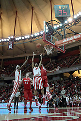 15 February 2014:  Jamaal Samuel, Jordan Prosser, Tony Wills and Tyshon Pickett all stand ready to catch a rebound during an NCAA Missouri Valley Conference (MVC) mens basketball game between the Bradley Braves and the Illinois State Redbirds  in Redbird Arena, Normal IL.