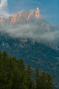 The Schlern, 2,563 meters elevation, morning light, October 2007, Schlern-Rosengarten Nature Reserve, South Tyrol, Italy