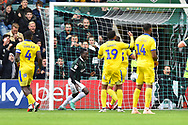 Goal - Freddie Ladapo (19) of Plymouth Argyle scores a goal to give a 1-0 lead to the home team during the EFL Sky Bet League 1 match between Plymouth Argyle and AFC Wimbledon at Home Park, Plymouth, England on 6 October 2018.