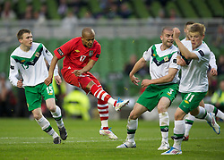 DUBLIN, REPUBLIC OF IRELAND - Friday, May 27, 2011: Wales' Robert Earnshaw celebrates scoring the second goal against Northern Ireland during the Carling Nations Cup match at the Aviva Stadium (Lansdowne Road). (Photo by David Rawcliffe/Propaganda)