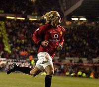 Photo: Richard Lane.<br />Manchester United v Aston Villa. Barclaycard Premiership. 06/12/2003.<br />Diego Forlan celebrates his secon goal.