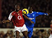 Photo: Javier Garcia/Back Page Images<br />Arsenal v Birmingham FA Barclays Premiership Highbury 04/12/04<br />Patrick Vieira is pressured by Emile Heskey