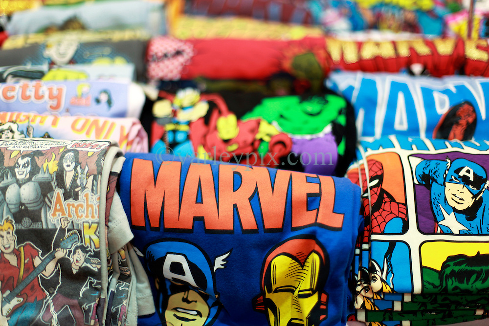 10 January 2015. New Orleans, Louisiana. <br /> Marvel T-shirts at the Wizard World New Orleans Comic Con 2015 at the Morial Convention Center. A Stormtrooper arrests Princess Leia.<br /> Photo; Charlie Varley/varleypix.com