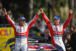 October 28, 2018 - Barcelona, Catalonia, Spain - The French driver, Sebastien Loeb and his co-driver Daniel Elena, celebrating his victory of Rally Racc during the last day of WRC Rally Racc Catalunya, on October 28, 2018 in Salou, Spain. (Credit Image: © Joan Cros/NurPhoto via ZUMA Press)